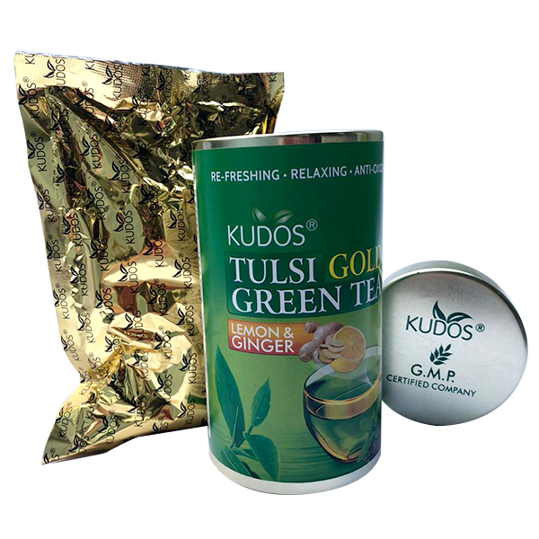 Tulsi Gold Green Tea Lemon & Ginger-bote 100g.