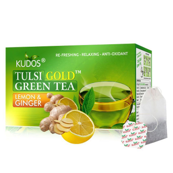Tulsi Gold Green Tea Lemon & Ginger-caja con 25 sobres