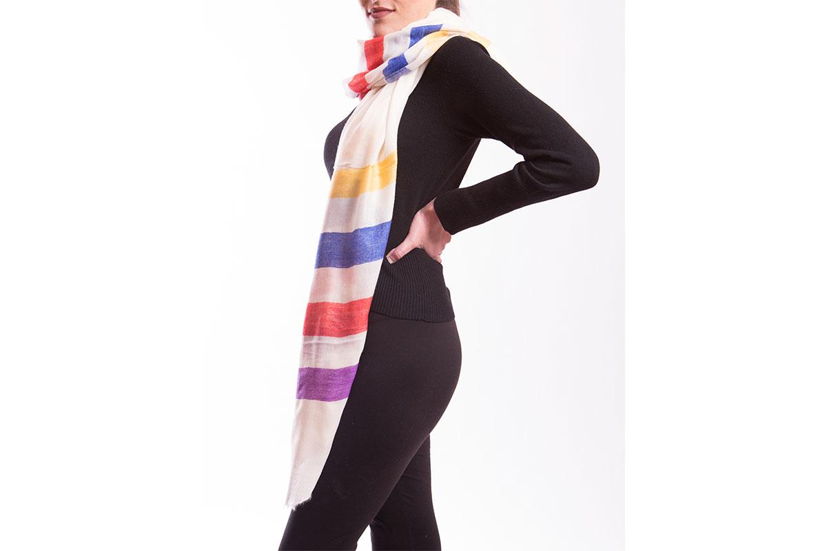 Pashmina de Lana Fina de Cashemere rayadas, colores