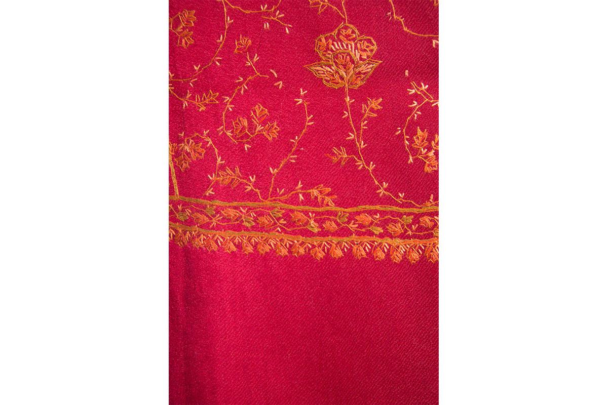 Pashmina de lana grueso de cashmere, bordada a mano, rojo